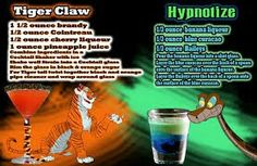 Tiger Claw & Hypnotize - Dschungelbuch Disney Cocktail - New Ideas Non Alcoholic Drinks, Bar Drinks, Cocktail Drinks, Yummy Drinks, Beverages, Alcholic Drinks, Fruity Drinks, Disney Cocktails, Alcohol Drink Recipes
