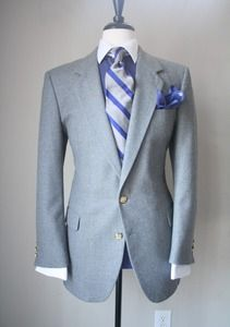 vintage grey blazer with gold buttons