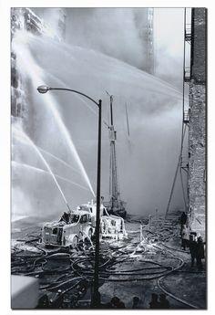 Vintage Chicago Fire Department fire scene photo