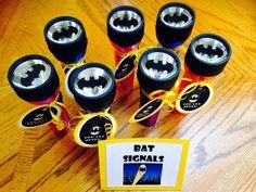 Little Mrs. Preschool: Batman Birthday Bash. Batman party favors: bat signal flashlights Batman Party Supplies, Superhero Party Favors, Superhero Birthday Party, 4th Birthday Parties, Birthday Party Favors, Boy Birthday, Birthday Ideas, Superhero Classroom, Fiesta Batman Lego