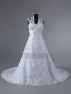 White Appliques Wedding Dress