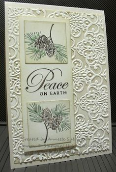 "By Annette Sullivan. Ink (Crumb Cake) top inside of ""Lacy Brocade""embossing folder (Stampin' Up/Sizzix); then emboss white cardstock panel. Attach embossed panel to white card base. Stamp pine sprig (from Stampin' Up ""Autumn Days"") on white cardstock squares; sponge edges. Sponge edges of vertical white cardstock strip; attach image squares; stamp sentiment between images. Pop up image panel onto card."
