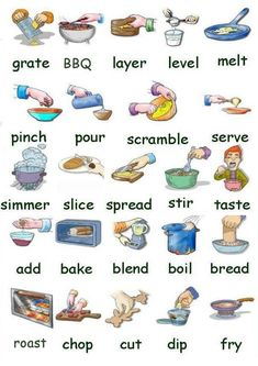 Learning the vocabulary for preparing and cooking food