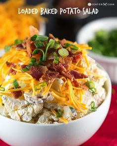 Loaded Baked Potato Salad has everything you love about baked potatoes! It's made with sour cream, real bacon crumbles, cheddar cheese and chives. It's best served cold and is the perfect side for summer pot lucks and picnics!