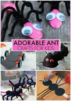 Adorable ant crafts for kids. These are great for an ant theme. Animal Crafts For Kids, Craft Activities For Kids, Toddler Crafts, Preschool Activities, Ant Crafts, Insect Crafts, School Projects, Projects For Kids, Ant Art