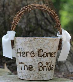 Birch Rustic Flower Girl Basket, for a rustic wedding