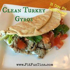 Clean Turkey Gyros - whole grain pita (for serving, would omit or serve on veggies/paleo bread/wrap instead), minced garlic, onion, water, ground turkey, oregano, pepper, salt (optional), other fillings/add-ons for serving (1% Greek yogurt, cucumber, minced garlic, red wine vinegar, dry dill weed)