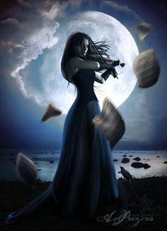 """Moonlight is music for the soul."" A thought I had inspired by this photo. Click pic to watch a video interpretation of Beethoven's ""Moonlight Sonata"". Dark Fantasy, Gothic Fantasy Art, Fantasy Fairies, Art Noir, Inspiration Artistique, Moonlight Sonata, Beautiful Moon, Dark Art, Character Inspiration"