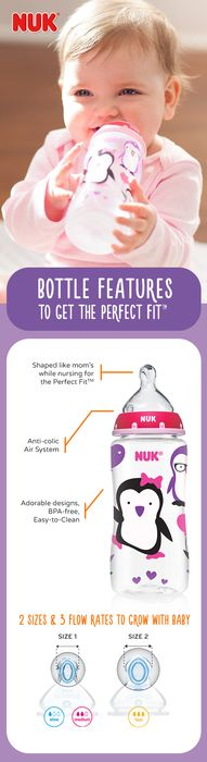 Improved NUK® Bottles with the Perfect Fit™ Nipple is the natural way to feed your growing baby. Our unique nipple is the same shape as mom's nipple while she is nursing, so baby gets the perfect bottle feeding fit, every time.