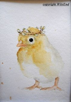baby chick SIGNS OF SPRING - CAROLINE AND HER CROWN this piece is a fully hand painted original by seller (© witsend) on 140 lb cold press watercolor paper and may easily be framed into standard size, ready-made frame, with or without a mat. Mat not included. As with all of my pieces, this piece is artist signed, dated, and is a one-of-kind piece that will not be repeated.. This piece measures approximately 8 inches tall by 6 inches wide (not matted).
