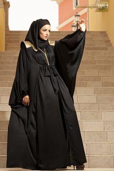 Abaya from Al Motahajiba Autumn Collection 2013 Arab Fashion, Islamic Fashion, Muslim Fashion, Modest Fashion, Kaftan Abaya, Caftan Dress, Turban, Khaleeji Abaya, Arabic Dress