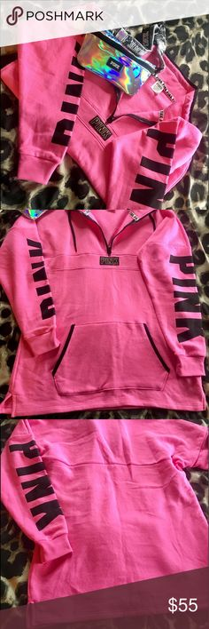 VS PINK💜 half zip & Fanny pack ❤️ My husband bought this and it's way to long for me!! I'm just about 5ft tall so if your 5'3 or taller it will fit well ! It's like new condition ! Only wore a handful of times for less than 2 hours each time . Fanny pack is Brand New with tags still! 🔴Will consider trades but they are limited ! 🔴 PINK Victoria's Secret Tops Sweatshirts & Hoodies
