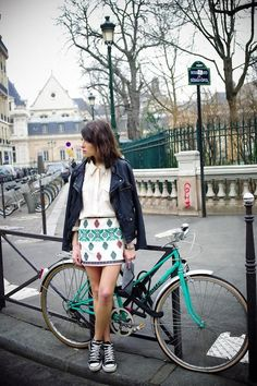 ethnic print skirt, converse sneaks and a bicycle