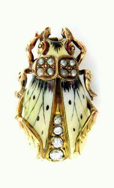 Antique Art Nouveau pearl, enamel, and diamond beetle pin, circa 1900.