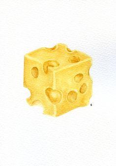 Swiss cheese ORIGINAL Painting Still Life от ForestSpiritArt