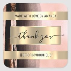 Thank You Shopping Custom Name Pink Rose Square Sticker Anniversary Party Favors, Wedding Anniversary, Luxury Store, Bridal Shower Favors, Love Is Sweet, Business Supplies, Custom Stickers, Keep It Cleaner, Holiday Cards