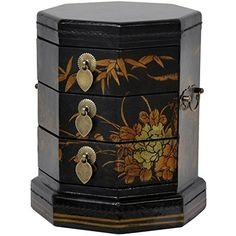 Oriental Furniture Black Lacquer Hexagon Jewelry Box ORIE…