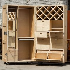 Self-contained wardrobe, closet, drawer unit that folds closed
