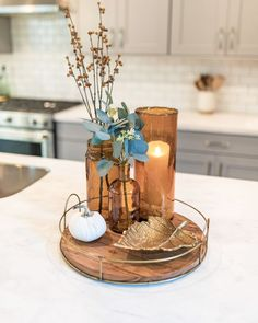 Check this out Kitchen Centerpiece Ideas - Modern Fall Kitchen Decor, Fall Home Decor, Autumn Home, Diy Home Decor, Decor Room, Diy Kitchen, Kitchen Ideas, Kitchen Decorations, Table Decorations