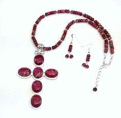 Mosaic Stone Necklace & Earrings by ClassyGemsByCarol on Etsy