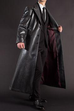 Black Outfit Men, Black Outfits, Mens Designer Leather Jackets, Long Leather Coat, Jacket Men, Formal Wear, Mantel, Duster Coat, Raincoat