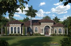 A smaller takeoff of the Villa Siena Model, this house plan also features a great room layout creating an easy living open floor plan for all to enjoy. A traditional floor plan with 3 bedrooms and 2.5 baths, the Villa Siena II house plan offers an oversized 3 car garage and a Mediterranean facade composed of a stucco finish, large round columns and archtop windows.