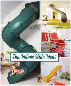 Fun Indoor Slide Ideas | Bring in a playhouse element with a slide. So many memories can be made here!