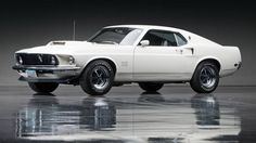 White mustang muscle car