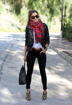 Plaid scarf, skinny jeans, leathet jacket.