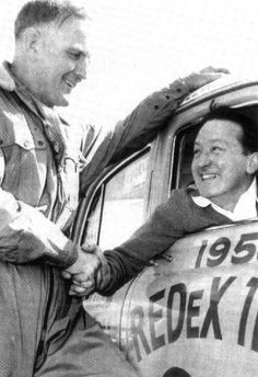 1955 RedEx Trial: Before the start 1953 winner Ken Tubman in a Standard Vanguard this year and 1954 winner Jack Murray wish each other luck Motor Sport, Trials, Peugeot, Rally, Car, Sports, Photos, Hs Sports, Automobile