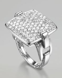 Classic Chain Cushion Ring, Diamond by John Hardy at Neiman Marcus. Diamond Wedding Bands, Diamond Rings, Diamond Jewelry, Jewelry Rings, Jewelry Box, Jewelery, Wedding Rings, John Hardy Jewelry, Cushion Ring