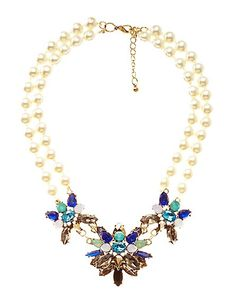 Pearl & Faceted Stone Statement Necklace: Charlotte Russe