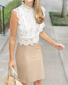 white lace + tan skirt