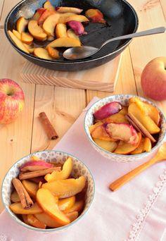 Nem acredito que é saudável!: Salteado de maçãs e pêssegos . Sautéed apples and peaches slices
