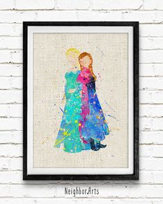 Frozen Elsa and Anna Watercolor Art Print by NeighborArts on Etsy