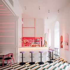 Lisbon's Lulu bar Lulu's Restaurant, Restaurant Design, Dj Table, Shaped Windows, Natural Stone Flooring, Window Types, L Shaped Sofa, Wooden Slats, Low Tables