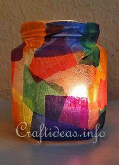 Kids Craft for Christmas - Colorful Tea Light Holder Great idea! Going to have the girls draw out their holiday design and cut out, rather than tearing up paper!