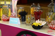 Liz B's Birthday / Diner Soda Shop Retro Birthday Party - Photo Gallery at Catch My Party Retro Birthday Parties, 50s Theme Parties, Birthday Party Tables, 50th Party, 1st Boy Birthday, Birthday Ideas, Candy Bar Party, Candy Table, Candy Buffet