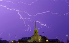 Lightning steaks across the sky behind the Young Meadows Presbyterian Church in Montgomery, Alabama [Photo: Dave Martin]