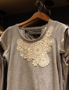 I used to do this to my t-shirts years ago - guess it's coming back in style. Find the doilies in your antique store or Goodwill.....