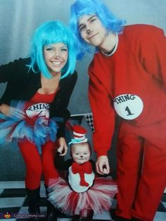 baby cat in the hat and her thing 1 thing 2 family costume - Baby And Family Halloween Costumes