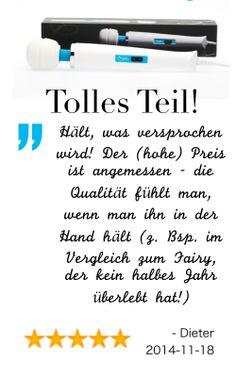 """""""Tolles Teil! Hält, was versprochen wird! Der (hohe) Preis ist angemessen - die Qualität fühlt man, wenn man ihn in der Hand hält (z. Bsp. im Vergleich zum Fairy, der kein halbes Jahr überlebt hat!)"""" - Dieter M. 2014.11.18, German owner of #EuropeMagicWand wand massager. #5outof5 stars for @EuropeMagicWand. Get more info at www.europemagicwand.de"""