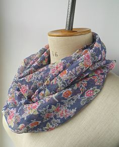 light infinity scarf with flowers, floral loop scarf made from chiffon  fabric, cowl for her with flowers, gift for her, christmas gift 9e47902a731