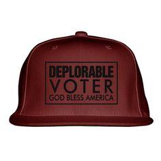 Deplorable Voter God Bless America Embroidered Snapback Hat