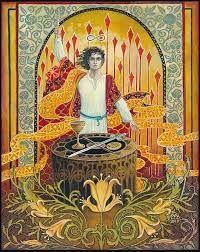 "Mythological Goddess Art by Emily Balivet - ""The Magician"" by Emily Balivet. Acrylic on canvas, 2017. | Facebook Goddess Art, Amber Stone, Oracle Cards, The Magicians, Mythology, Tarot, Mystery, Canvas, Painting"