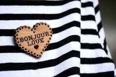 heartshaped bonjour love wooden brooch by shopnevertheless on Etsy, $18.00
