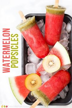 Delicious, NO ADDED SUGAR, watermelon popsicles. Made from only two ingredients, these all-natural ice poles are a delicious summer treat. via Healthy Little Foodies Easy Meals For Kids, Healthy Meals For Two, Healthy Fruits, Healthy Cooking, Kids Meals, Easy Cooking, Watermelon Popsicles, Healthy Popsicles, Yummy Snacks
