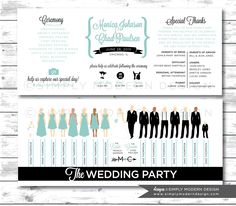 wedding program, ceremony program, wedding party silhouettes, PRINTABLE by SimplyModernDesignx on Etsy