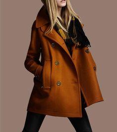 Loose winter  wool  Coat  yellow  coat Medium style coat. $52.00, via Etsy.