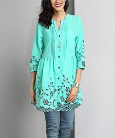 Turquoise Floral Chiffon Button-Down Pin Tuck Tunic